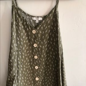 Buttoned olive green dress